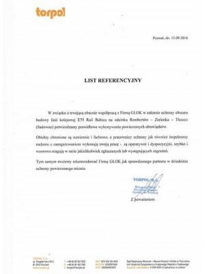 list referencyjny Glok