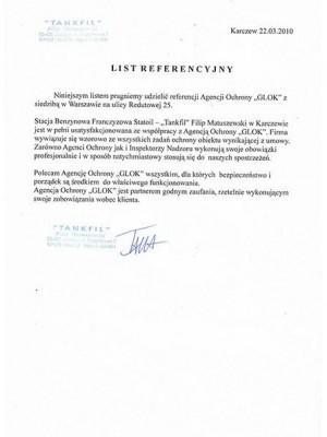 list referencyjny od Tankfil