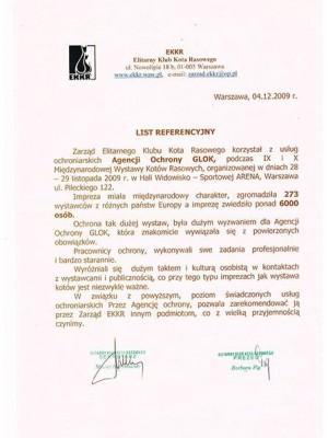 list referencyjny Warszawa