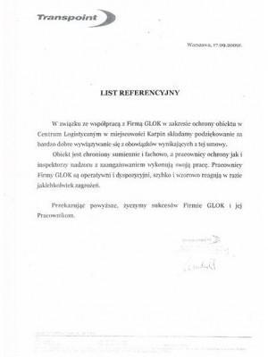 ochrona Glok list referencyjny