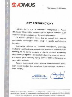 referencje dla ochrony